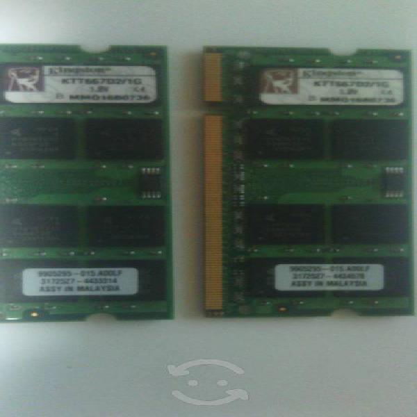 Memorias ddr2 para lap de diferentes marcas 1 gb