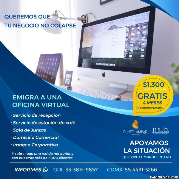 Promocion en renta de oficinas virtuales