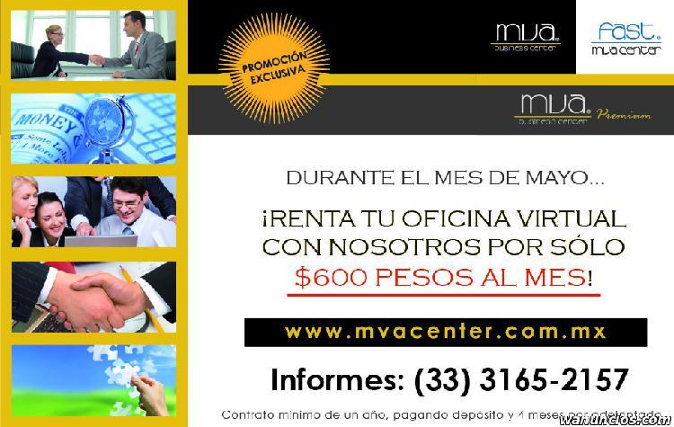 Renta oficinas virtuales desde $600 pesos