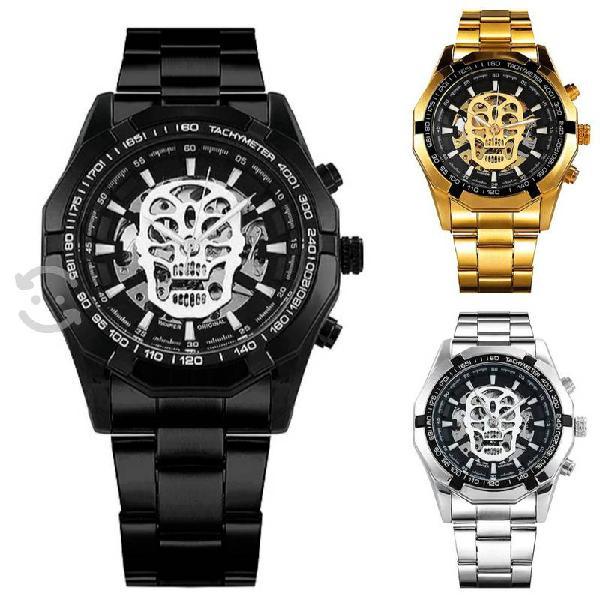 Reloj para hombre winner calavera, acero