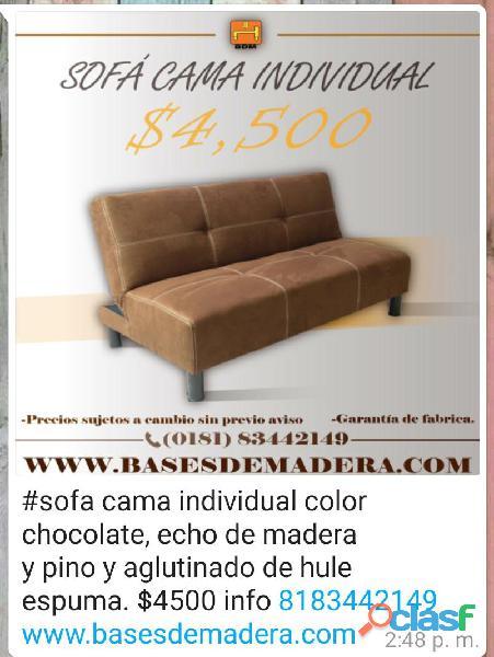 Sofá cama individual chocolate en monterrey