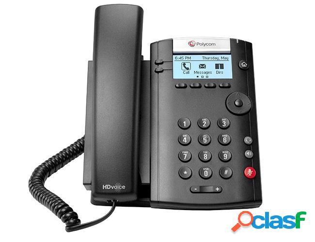 Poly teléfono ip vvx 201, alámbrico, 2 líneas, altavoz, negro