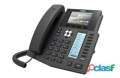 Fanvil teléfono ip 2 pantallas x5s, 8 teclas programables, conferencia de 3 vías