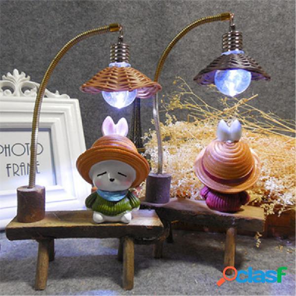 Luz de la noche del conejo pícaro resina artesanía adornos retro amantes figuras miniatura led lámpara regalos