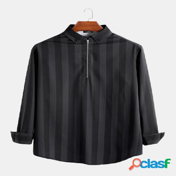 Camisas casuales de media manga con cremallera suelta a rayas de moda para hombre