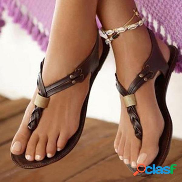 Gran tamaño mujer retro playa slip on flip flops flat sandalias