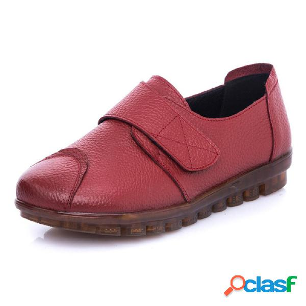 Mujer casual soft sole gancho loop flats loafers
