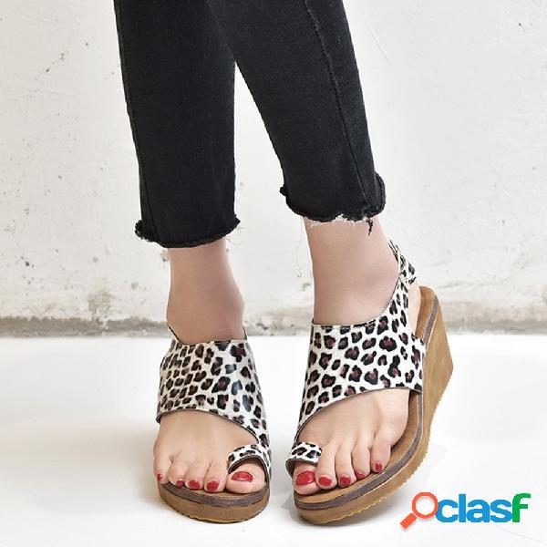 Gran tamaño mujer casual clip toe leopard wedges sandalias