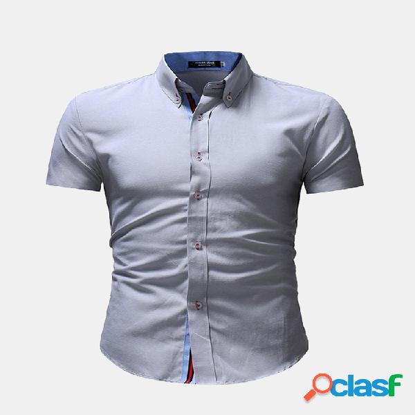 Delgado botones de manga corta con cierre de rayas camisas casuales de algodón para hombres