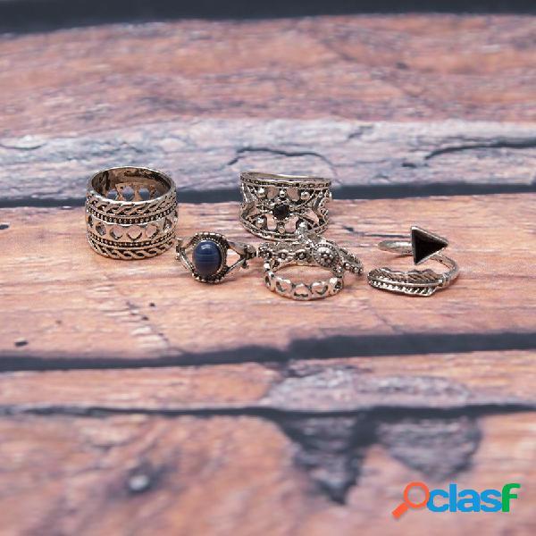 7 piezas de anillos retros bohemios de articulación con turquesa