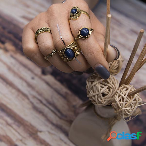 Anillo bohemio del nudillo de la turquesa de la vendimia del anillo 5pcs
