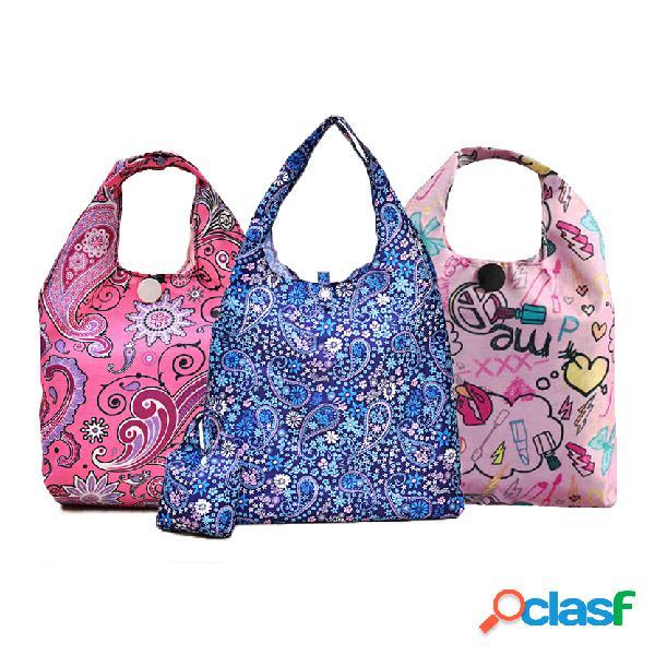 Bolsa de almacenamiento plegable impermeable de compras bolsa de plástico potable reutilizable bolsa de supermercado