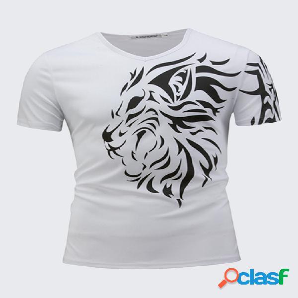 Camiseta casual con 3d estampado de león de cuello en v con mangas cortas top de verano para hombres