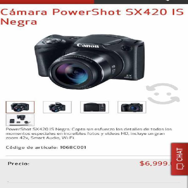 Cámara powershot sx420 is negra