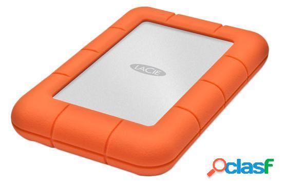 "Disco duro externo lacie rugged mini 2.5"", 2tb, usb 3.0, naranja/plata - para mac/pc"