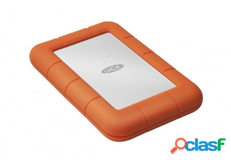 "Disco duro externo lacie rugged mini 2.5"", 1tb, 5400rpm, usb 3.0, naranja/plata - para mac/pc"