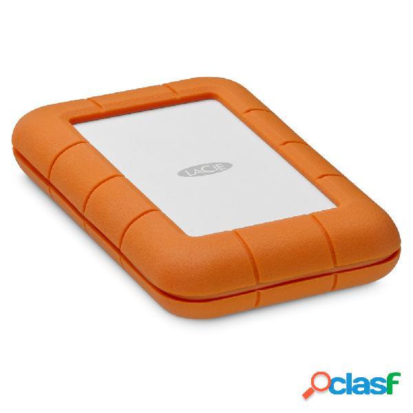 "Disco duro externo lacie rugged secure 2.5"", 2tb, usb-c, naranja, a prueba de agua y golpes - para mac"