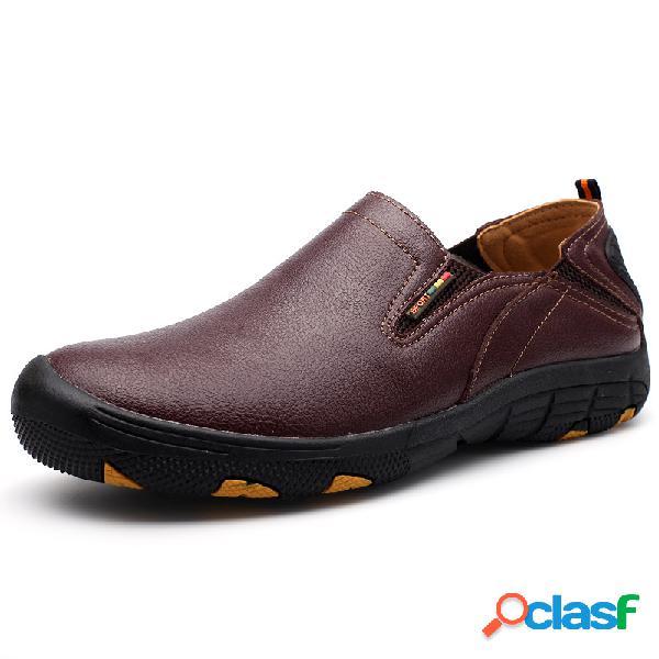 Hombre antideslizante resbalón de vestir en zapatos de cuero casuales