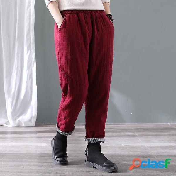 Algodón y lino algodón grueso acolchado pantalones temporada de las mujeres pantalones sueltos ocasionales calientes de los pies calientes
