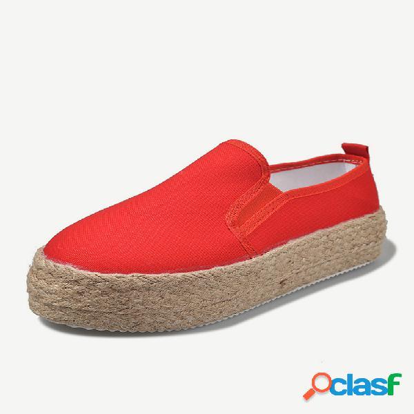 Zapatos de plataforma sin cordones de color sólido de gran tamaño para mujer