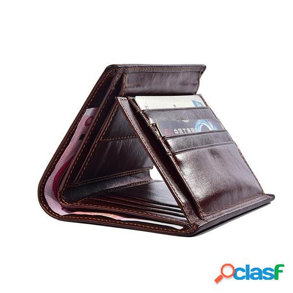 Monedero de hombre corto piel genuina 3-fold vendimia en relieve billetera vertical