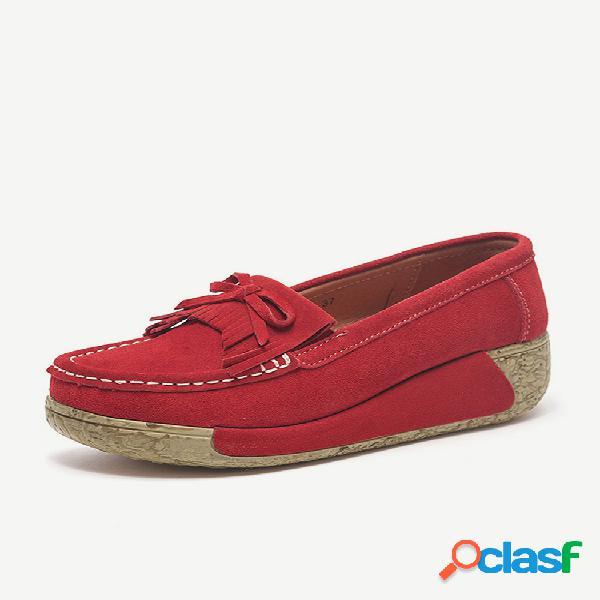 Zapatos casuales con costura de ante con plataforma y borlas