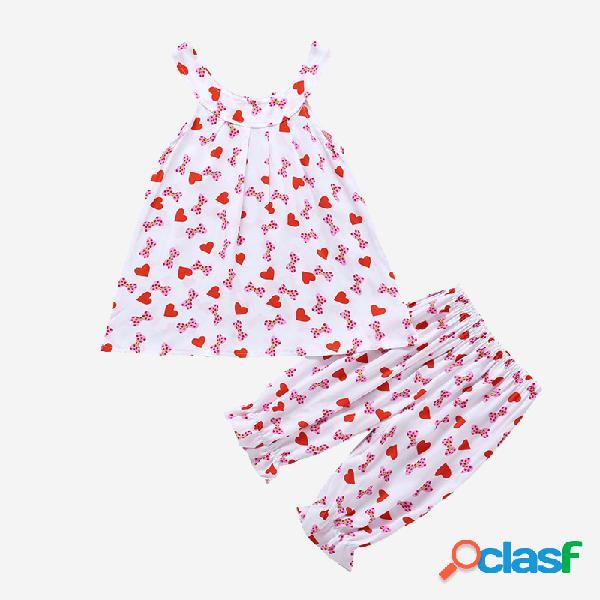 Conjunto de ropa informal sin mangas con estampado love-hearts rosa para niña de 3-8 años