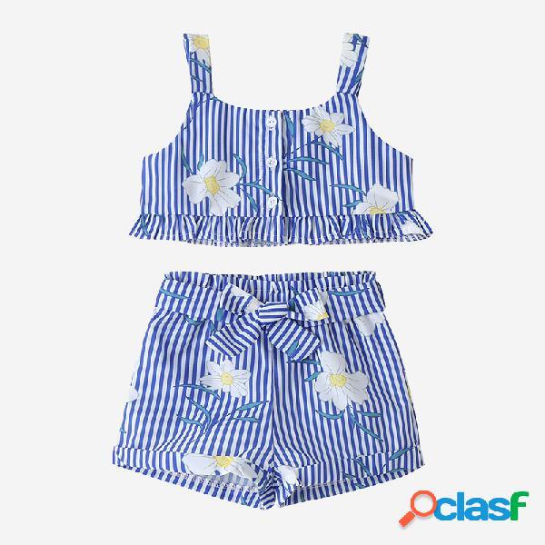 Ropa informal sin mangas con volantes y estampado de rayas florales para niña de 2-8 años