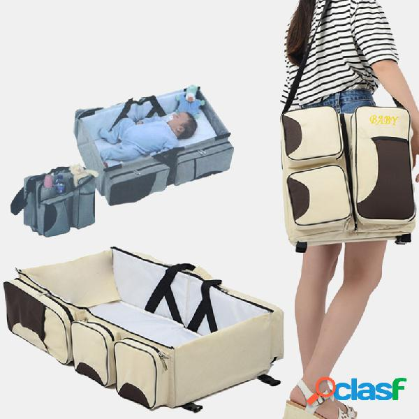 Cama plegable de viaje para bebés bolsa salida portátil para madres y bebés bolsa momia multifuncional de gran capacidad bolsa