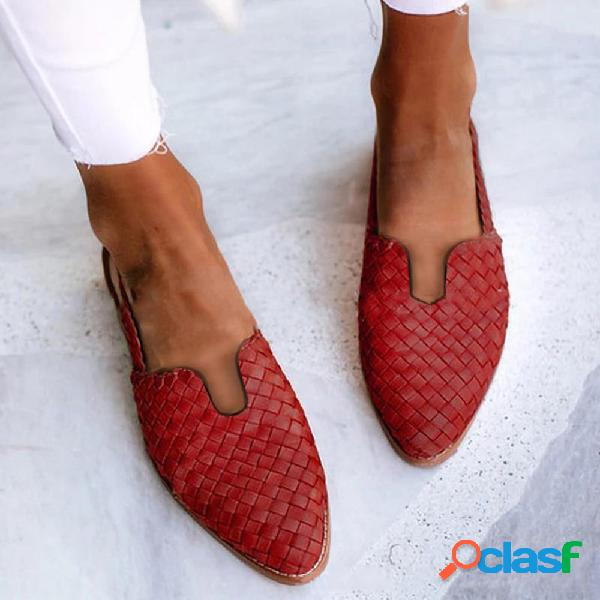 Zapatos planos destalonados con hebilla trenzada informal para mujer