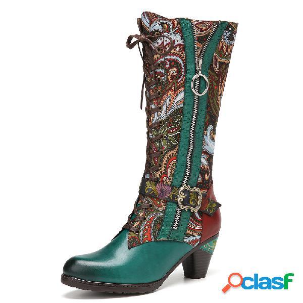 Socofy empalme de tela con flores retro piel genuina tacones cortos cómodos para vestir a media pierna botas