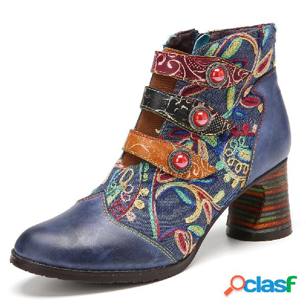 Socofy empalme de bordado de flores piel genuina suela para vestir tacón grueso tobillo botas