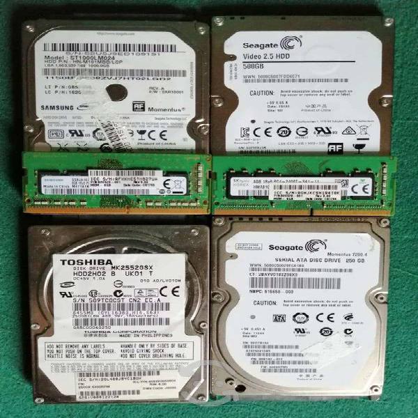 Discos duros laptop 1tera250,500gb memoria ddr4 8g