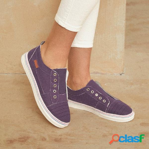 Mujer zapatos planos casuales de lona cómodos con ojales de doble línea