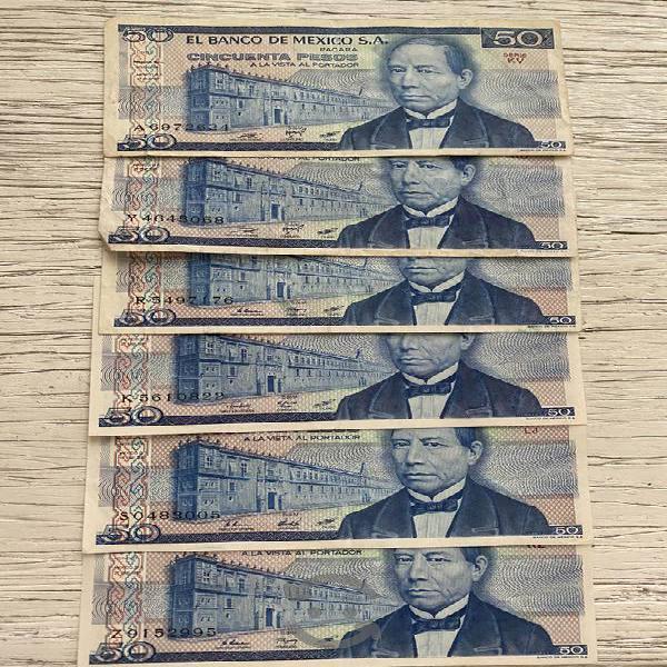 Billetes antiguos diferente denominación cada uno