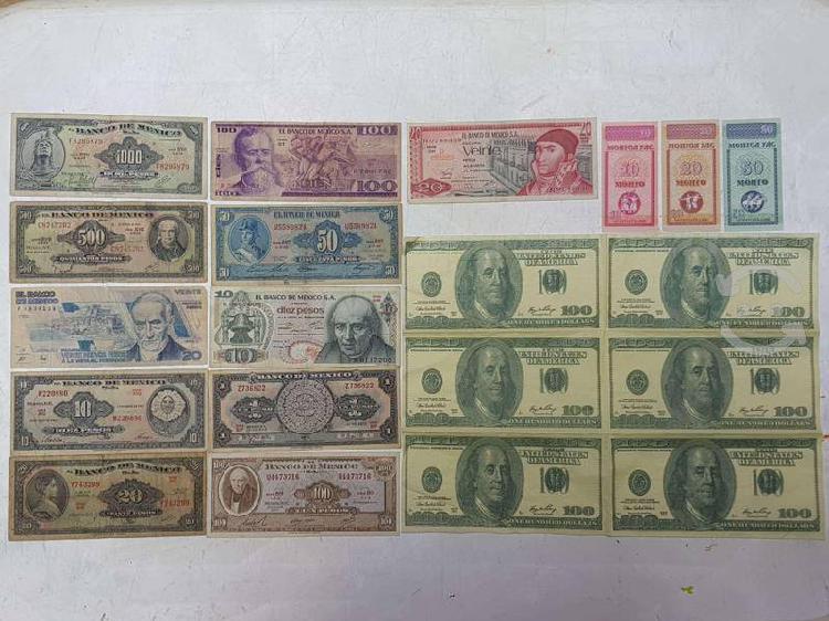 Billetes antiguos mexicanos tugriks mongoles dolar