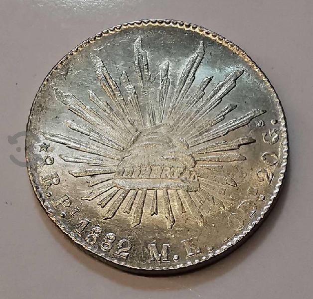 Moneda plata 8 reales 1882 san luis potosi pi mh a