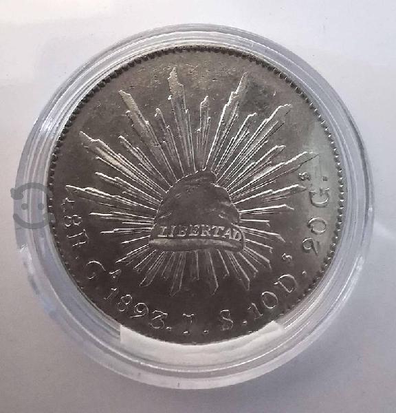 Moneda plata 8 reales 1893 guadalajara ga js