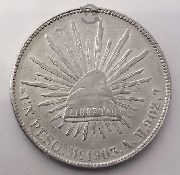 Moneda plata un peso 1903 fuerte porfiriano mo am