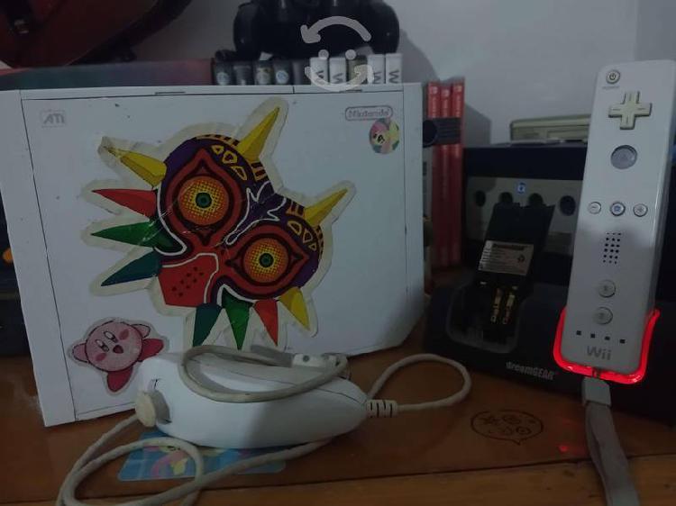 Nintendo wii chipeada con control de gamecube