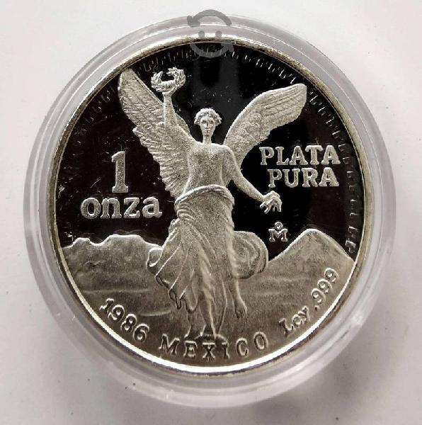 Onza plata pura 1986 proof en su estuche edicion e