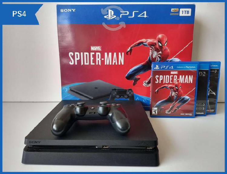 Ps4 slim 1tb edición spiderman + 3 juegos