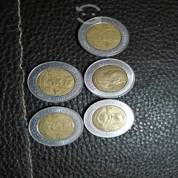 Monedas de 5 pesos centenario de la revolución