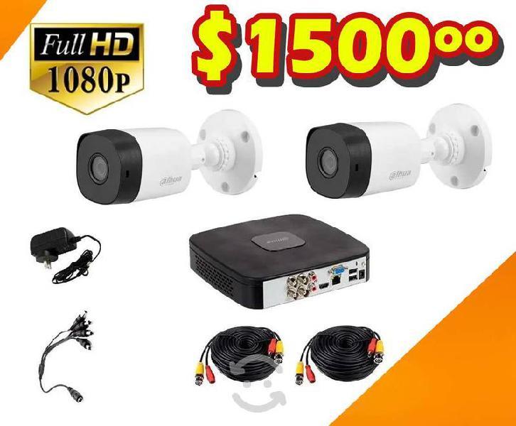 Kit dos cámaras de seguridad video vigilancia hd
