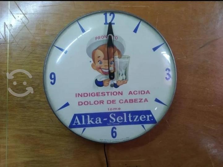 Antiguo reloj de pared publicidad alka-seltzer