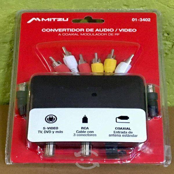 Convertidor audio video rca a coaxial mitzu av rf