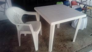 Mesa bancos y sillas con o sin descansa brazos de plástico