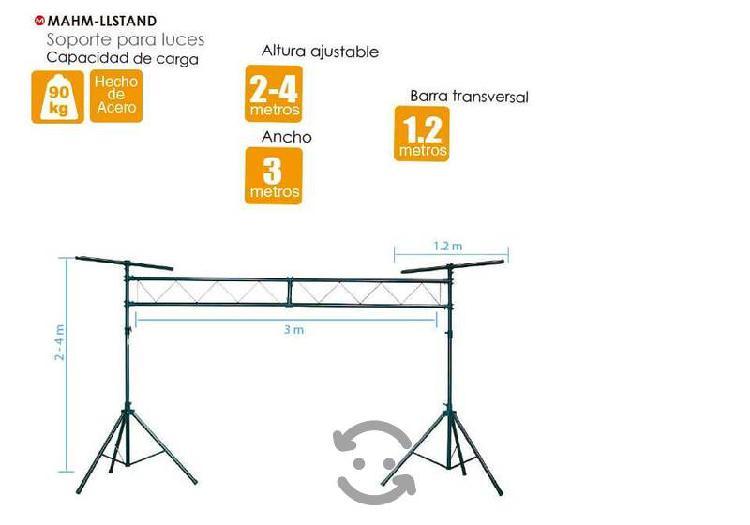 Stand iluminacion porteria 120kg 3.5m x 3 dj