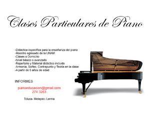 Clases particulares de piano, toluca metepec