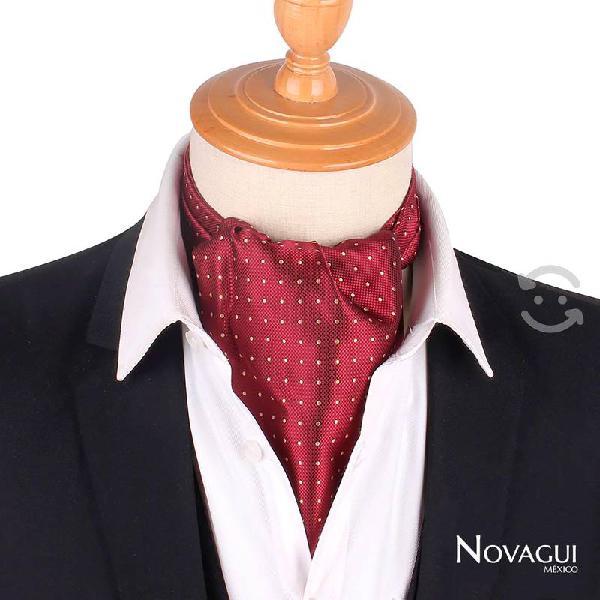 Corbata ascot británica tipo gazné polka dot/flora